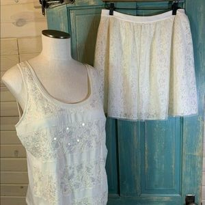 Express NWT Lace Skirt + Top Sequin 12 L